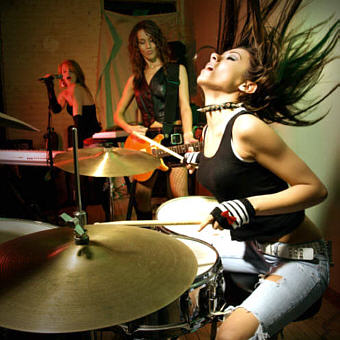 Hot Drummer Chick at In-Store Radio